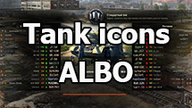 "Simple text icons of tanks ""ALBO"" for WOT 1.11.0.0"