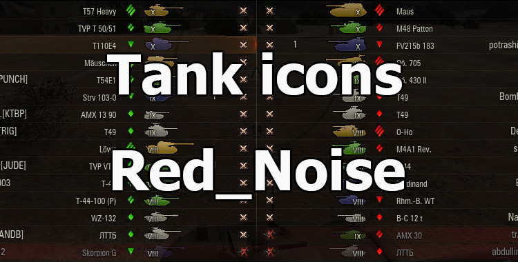 Contour colored icons of tanks from Red_Noise for WOT 1.9.1.2