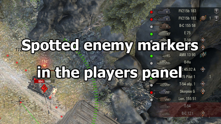 "Mod ""Spotted enemy markers in players panel"" for WOT 1.10.1.4"