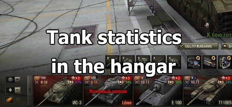 Statistics on the tank in the hangar for World of Tanks 1.9.1.2 [without XVM]