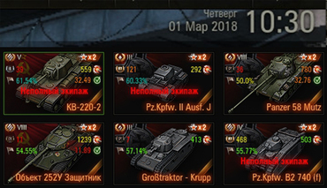 Statistics on the tank in the hangar for World of Tanks
